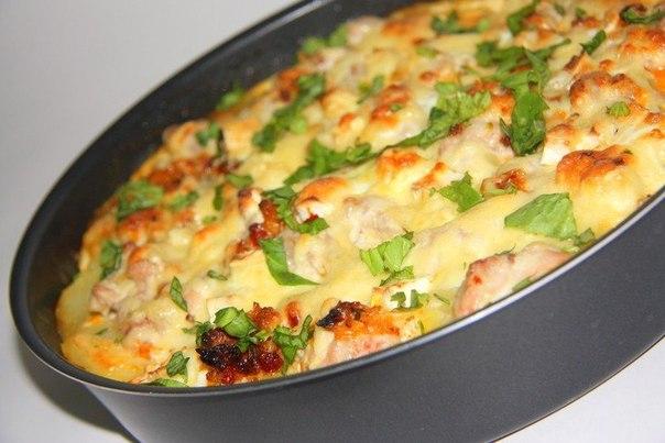 запеканка с картошкой и курицей и грибами