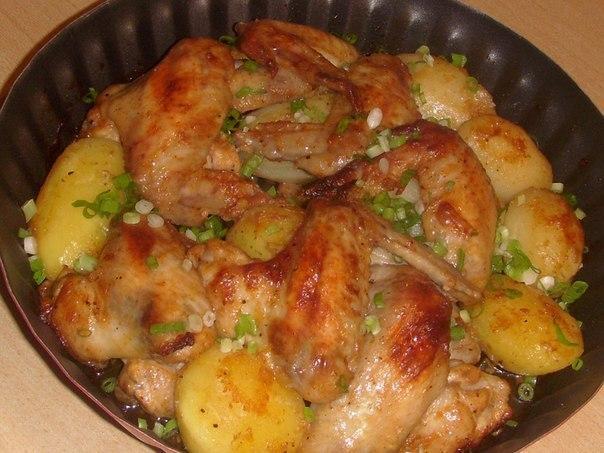 Куриные крылышки с картошкой в мультиварке рецепты с фото