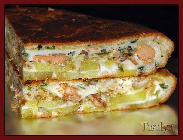 Заливной пирог с рыбным фаршем рецепт