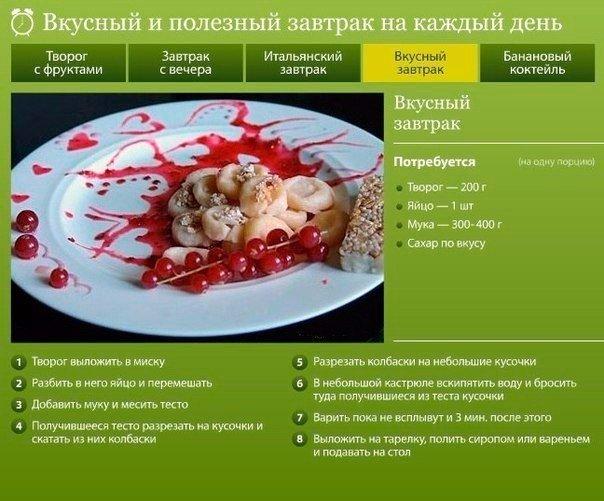 Вкусный домашний завтрак рецепты блюд