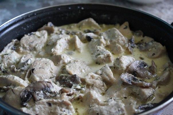 Куриное филе с грибами на сковороде рецепт