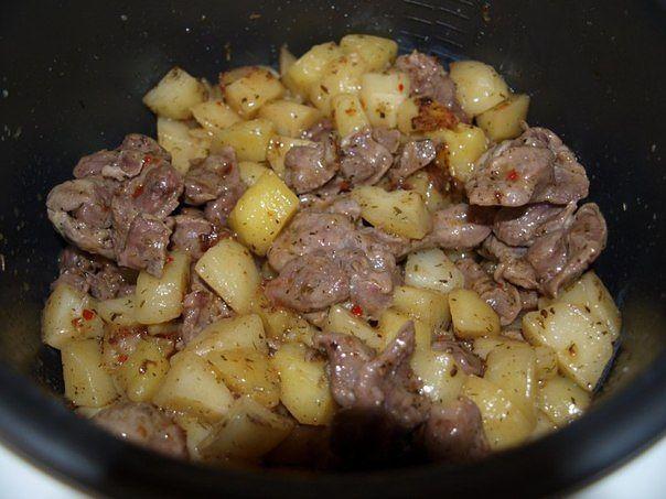 Желудки куриные рецепт с картошкой в мультиварке рецепты с пошагово