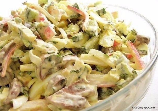 Вкусные простые салаты с кальмарами