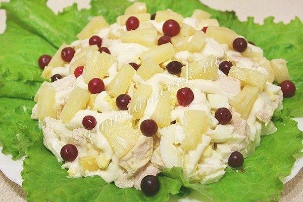 Простые праздничные салаты рецепты с ананасом 114
