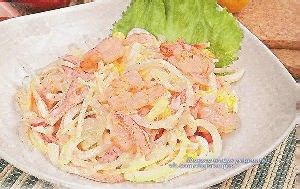 Салат кальмары креветки яйца крабовые палочки