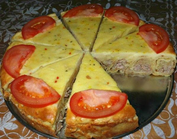Пирог из теста для блинов