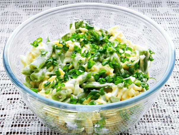 Рецепт салата из стручковой фасоли замороженной с