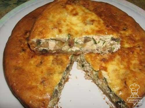 Рецепт пирога с мясом и грибами из дрожжевого слоеного теста