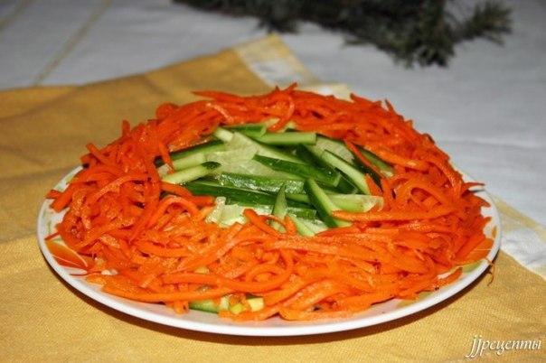 Салат с морковью по-корейски и и шпротами