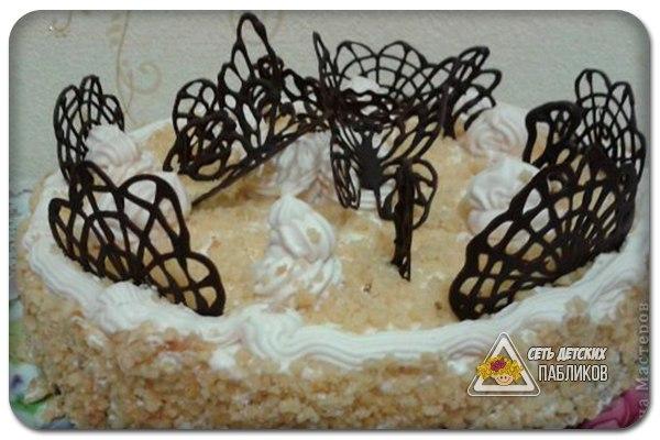 Узоры из шоколада для торта фото