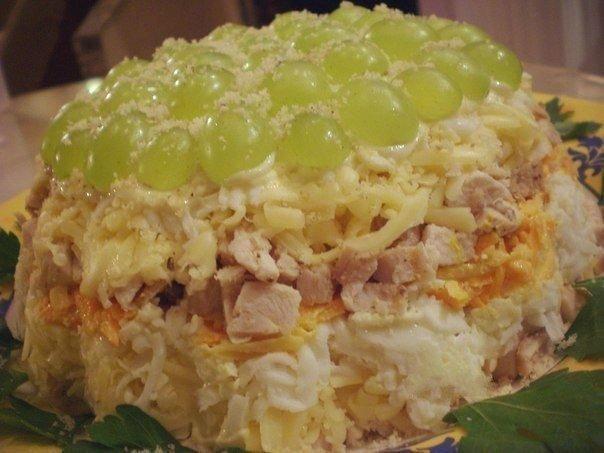 Рецепт слоеного салата с курицей с фото