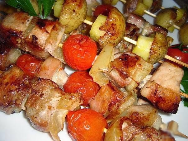 шашлык с картошкой в духовке рецепт с фото