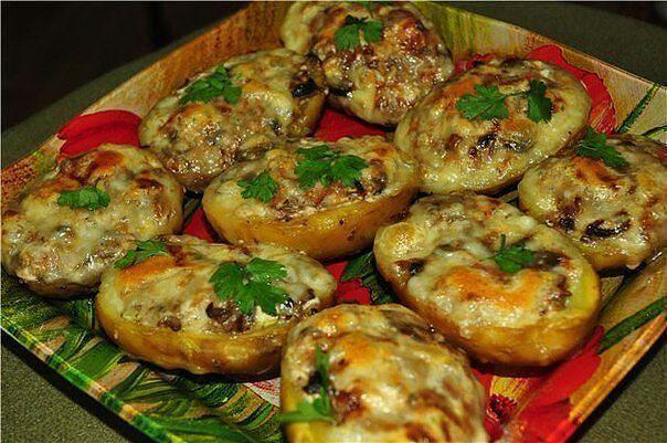 Картошка с грибами мясом рецепт в духовке