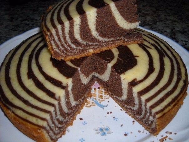 Рецепт пирога зебра на сметане пошагово и