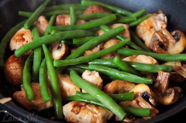 Зеленая фасоль с грибами рецепт