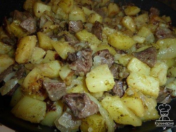 Картошка тушеная с куриной печенью в мультиварке рецепт с фото