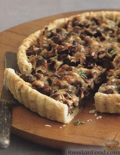 Открытый пирог с грибами рецепты