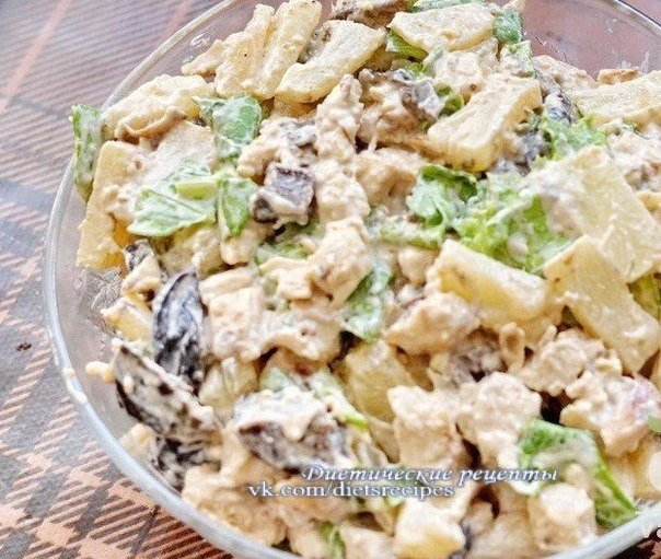 Фото рецепт пошагово салат курица с ананасами