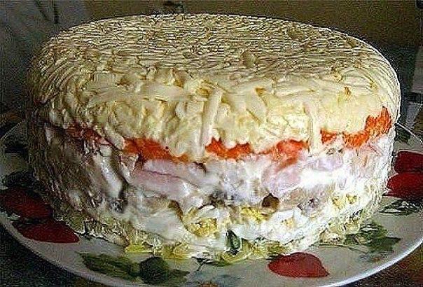 Салат слоеный с грибами и курицей рецепт с пошагово