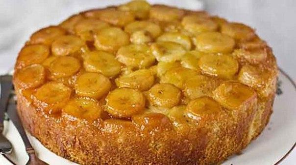 Пирог с творогом бананами