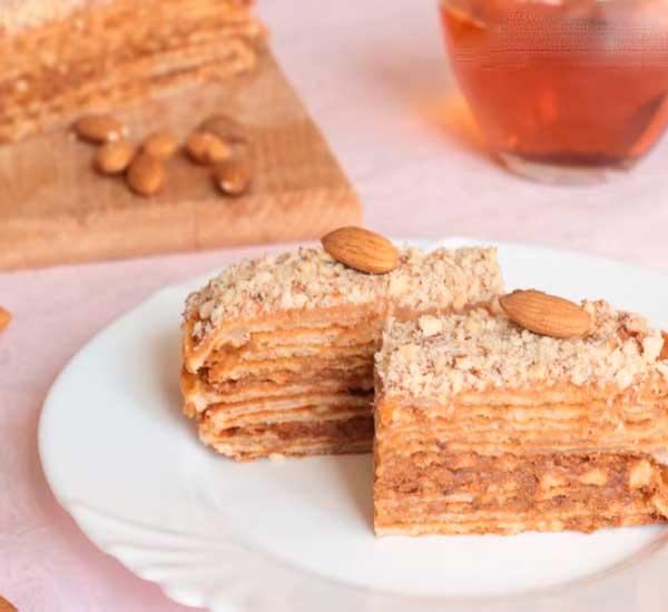 торт вафельный с вареной сгущенкой рецепт с фото
