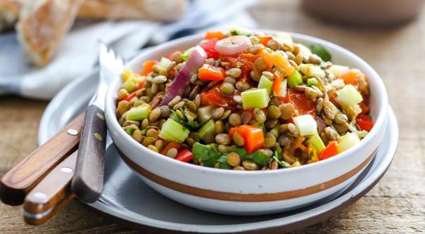 Салат из чечевицы диетический