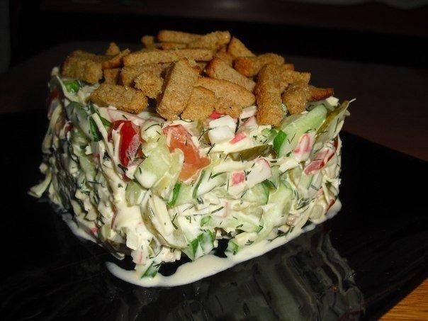 Рецепты салатов день рождения сухариками