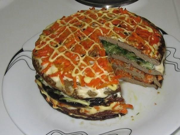 торт из печени говяжьей с морковью и луком рецепт с фото