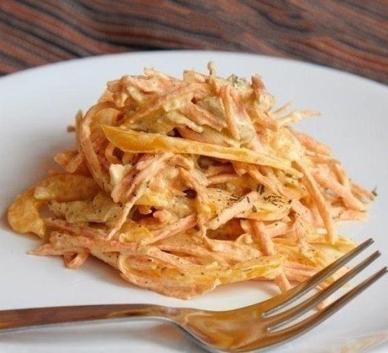 Салат с курицей перцем и морковью