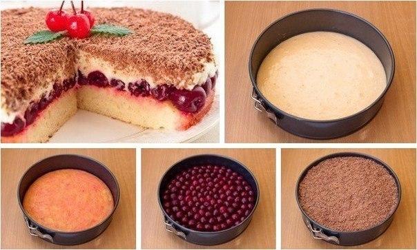 Вишневый пирог с маскарпоне